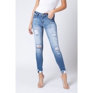 Distressed Light Wash Mid Rise Skinny